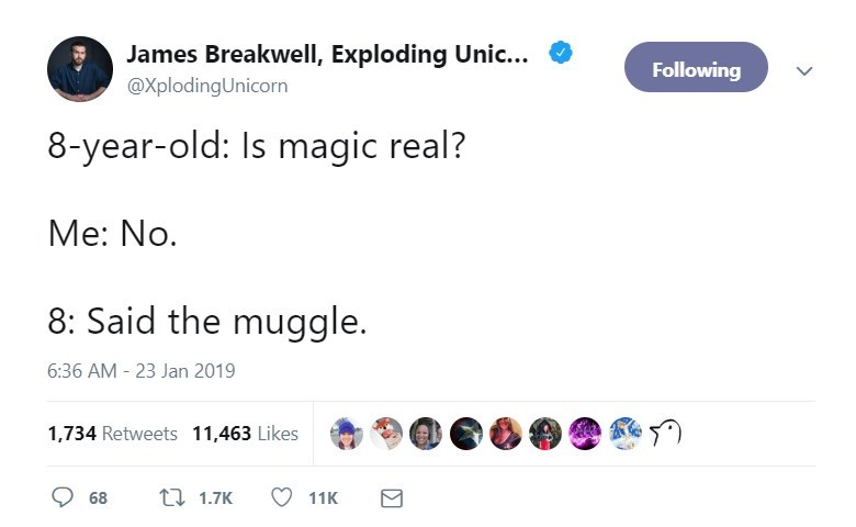Text - James Breakwell, Exploding Unic... Following @XplodingUnicorn 8-year-old: Is magic real? Me: No. 8: Said the muggle. 6:36 AM - 23 Jan 2019 1,734 Retweets 11,463 Likes 1.7K 68 11K