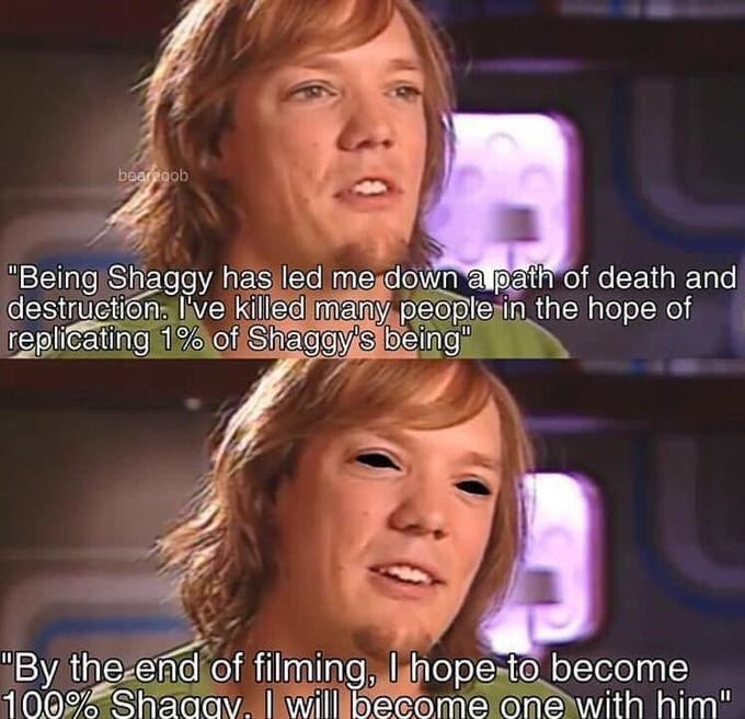 """shaggy meme - Face - bearoob """"Being Shaggy has led me down a path of death and destruction. Ive killed many people in the hope of replicating 1% of Shaggy's being"""" """"By the end of filming, I hope to become 100% Shagav. I will become one with him"""""""