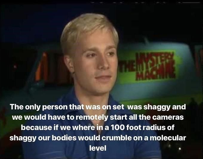 shaggy meme - Facial expression - THEMYSLER MACHNE The only person that was on set was shaggy and we would have to remotely start all the cameras because if we where in a 100 foot radius of shaggy our bodies would crumble on a molecular level