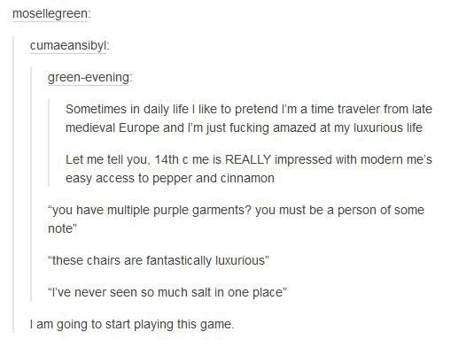 """Text - mosellegreen: cumaeansibyl: green-evening: Sometimes in daily life I like to pretend I'm a time traveler from late medieval Europe and I'm just fucking amazed at my luxurious life Let me tell you, 14th c me is REALLY impressed with modern me's easy access to pepper and cinnamon """"you have multiple purple garments? you must be a person of some note"""" """"these chairs are fantastically luxurious """"Ive never seen so much salt in one place"""" I am going to start playing this game."""