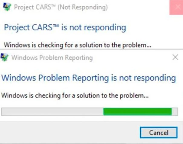 Text - Project CARSTM (Not Responding) Project CARSTM is not responding Windows is checking for a solution to the problem... Windows Problem Reporting X Windows Problem Reporting is not responding Windows is checking for a solution to the problem... Cancel