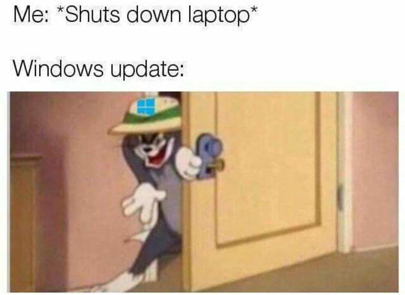 "Cartoon - Me: ""Shuts down laptop* Windows update:"