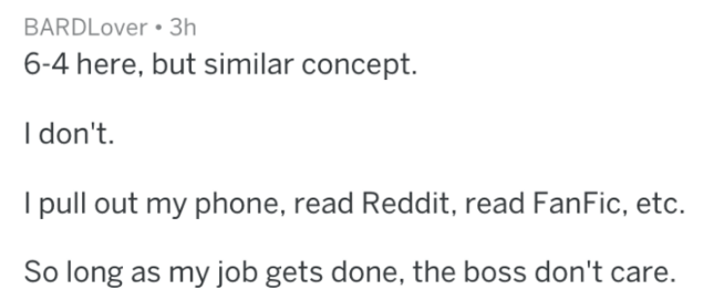 Text - BARDLover 3h 6-4 here, but similar concept. I don't. I pull out my phone, read Reddit, read FanFic, etc. So long as my job gets done, the boss don't care.