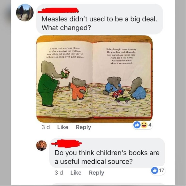anti vax meme - Text - Measles didn't used to be a big deal What changed? Measles isn't a serious illness, so ofter a few days the children were able to get up. But they stoayed in their room and played quiet games Babar brought them presents He gave Pom and Alexander two marvellous racing cars Flora had a toy elown which made a noise when it was aqueezed. 9 4 3 d Like Reply Do you think children's books a useful medical source? G17 3 d Like Reply