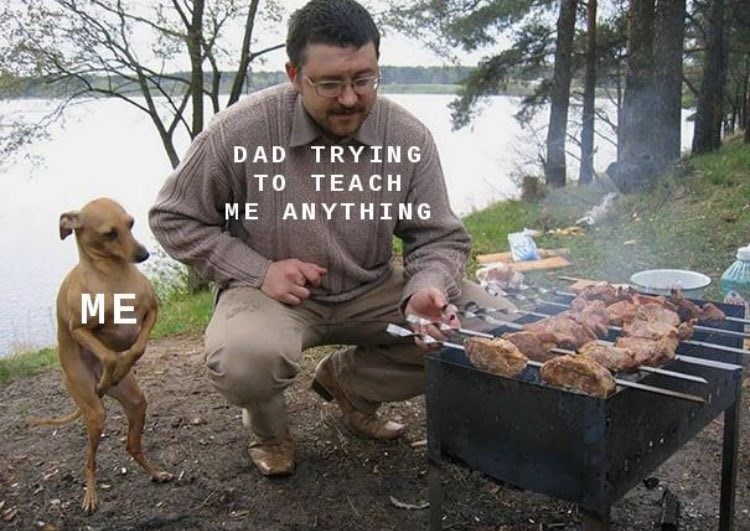wholesome meme of a dog watching its owner grill