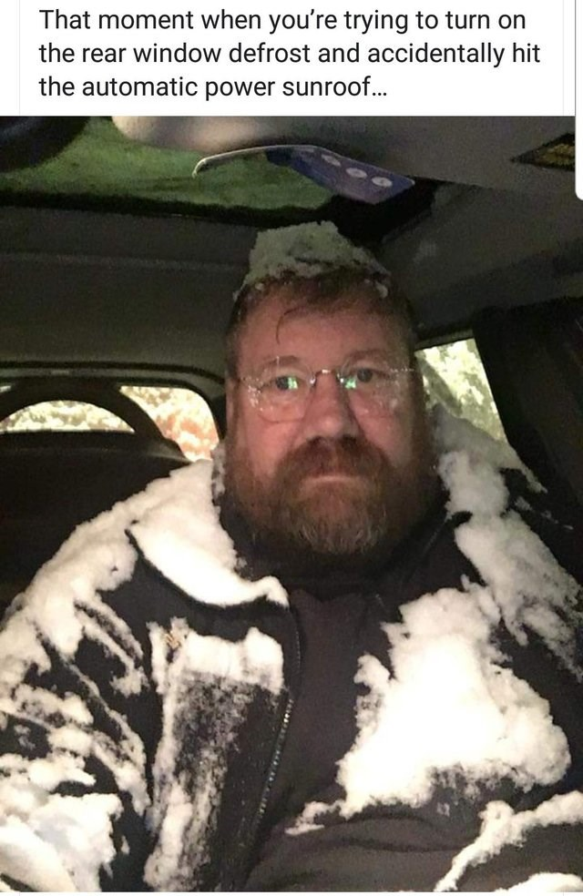 Facial hair - That moment when you're trying to turn on the rear window defrost and accidentally hit the automatic power sunroof...