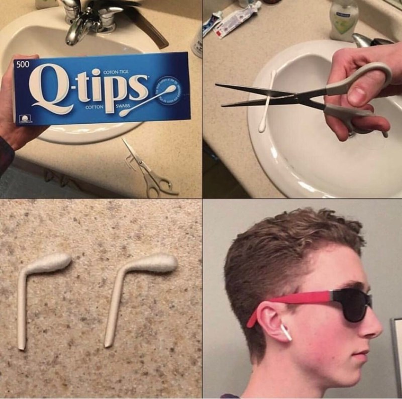 Pics of a guy making fake Airpods out of Q-tips