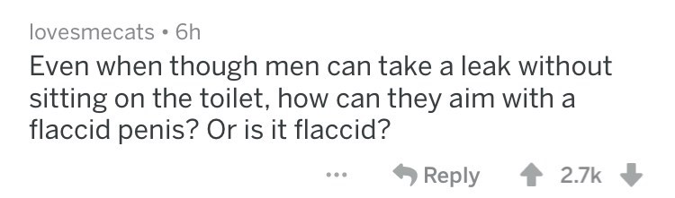 Even when though men can take a leak without sitting on the toilet, how can they aim with flaccid penis? Or is it flaccid? Reply 2.7k
