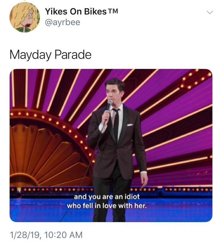 Purple - Yikes On Bikes TM @ayrbee Mayday Parade and you are an idiot who fell in love with her. 1/28/19, 10:20 AM