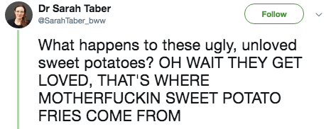 twitter post What happens to these ugly, unloved sweet potatoes? OH WAIT THEY GET LOVED, THAT's WHERE MOTHERFUCKIN SWEET POTATO FRIES COME FROM