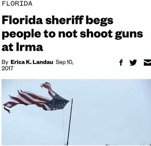 "Headline that reads, ""Florida sheriff begs people to not shoot guns at Irma"""