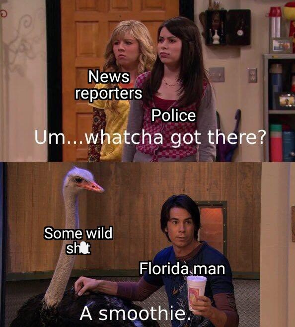 Photo caption - News reporters Police Um...whatcha got there? Some wild sht Florida man A smoothie