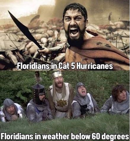 People - Floridians in Cat5Hurricanes Floridians in weather below 60 degrees