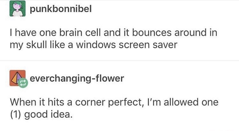 Text - punkbonnibel I have one brain cell and it bounces around in my skull like a windows screen saver everchanging-flower When it hits a corner perfect, I'm allowed one (1) good idea.