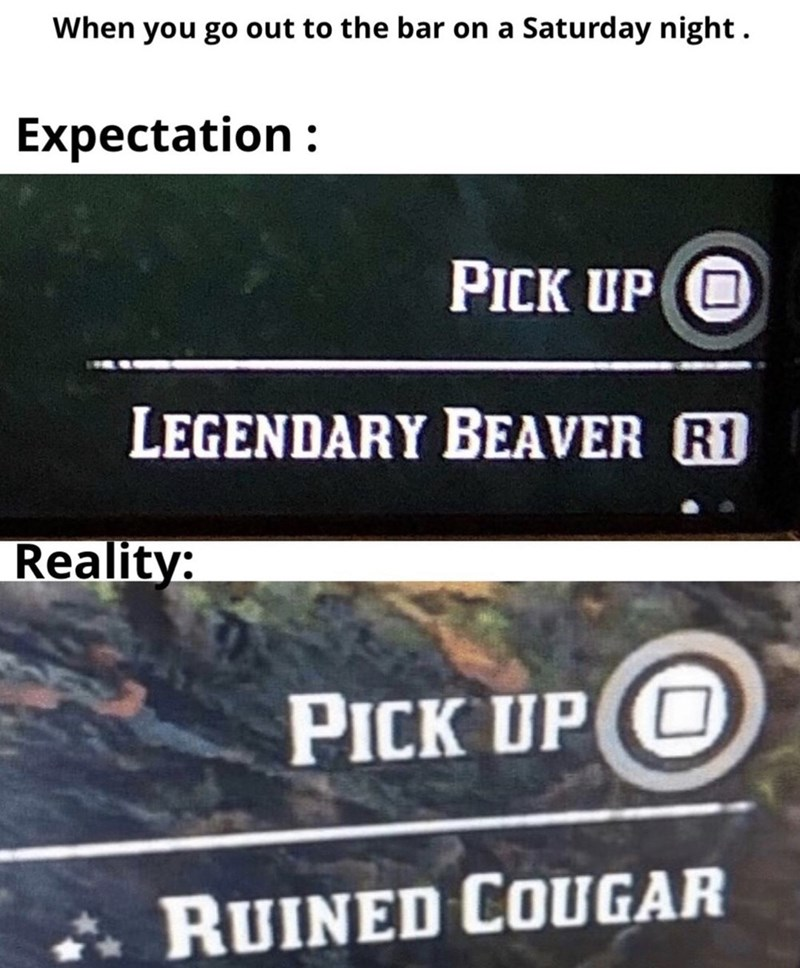 Text - When you go out to the bar on a Saturday night Expectation PICK UP O LEGENDARY BEAVER R1 Reality: PICK UP (O RUINED COUGAR