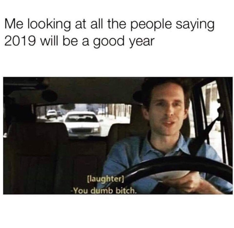 Product - Me looking at all the people saying 2019 will be a good year [laughter] -You dumb bitch