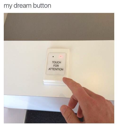 Text - my dream button TOUCH FOR ATTENTION