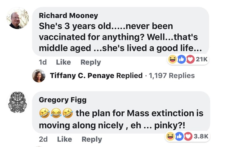 memes - Text - Richard Mooney She's 3 years old....never been vaccinated for anything? Well...that's middle aged...she's lived a good life... 21K 1d Like Reply Tiffany C. Penaye Replied 1,197 Replies Gregory Figg the plan for Mass extinction is moving along nicely, eh ... pinky?! I 3.8K 2d Like Reply
