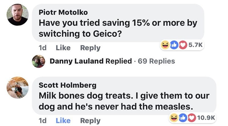 memes - Text - Piotr Motolko Have you tried saving 15% or more by switching to Geico? 5.7K Like 1d Reply Danny Lauland Replied 69 Replies Scott Holmberg Milk bones dog treats. I give them to our dog and he's never had the measles. ID10.9K Like Reply 1d
