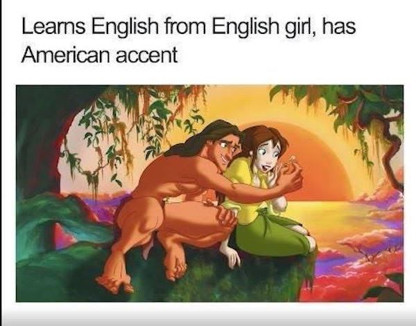 Cartoon - Learns English from English girl, has American accent