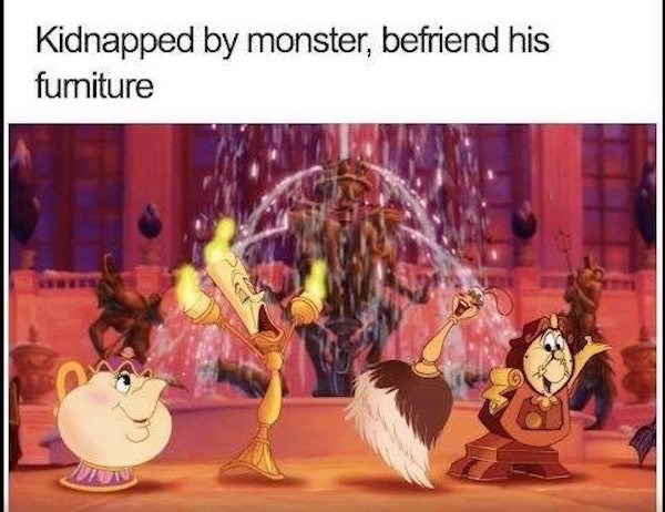 Cartoon - Kidnapped by monster, befriend his funiture