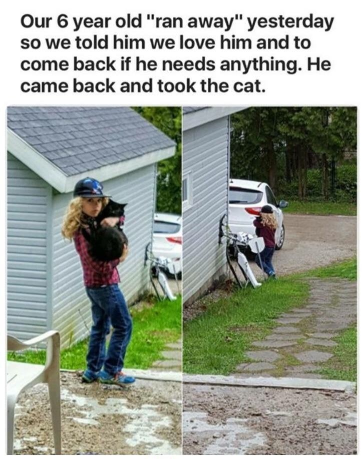 """Adaptation - Our 6 year old""""ran away"""" yesterday so we told him we love him and to come back if he needs anything. He came back and took the cat."""