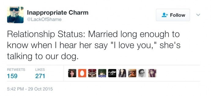 """Text - Inappropriate Charm Follow @LackOfShame Relationship Status: Married long enough to know when I hear her say """"I love you,"""" she's talking to our dog. RETWEETS LIKES 159 271 VOTE 5:42 PM 29 Oct 2015"""