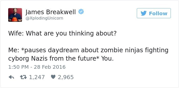 Text - James Breakwell @XplodingUnicorn Follow Wife: What are you thinking about? Me: *pauses daydream about zombie ninjas fighting cyborg Nazis from the future* You 1:50 PM 28 Feb 2016 L1,247 2,965
