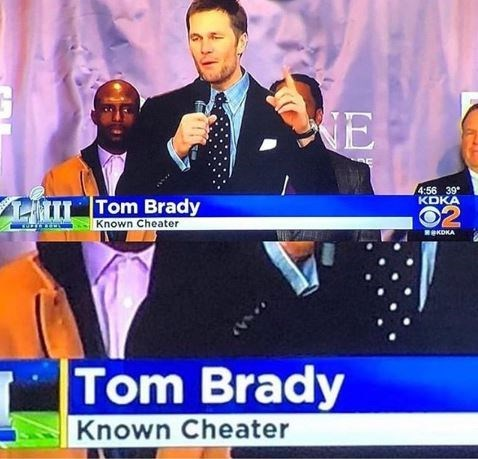 TV still of Tom Brady with headline that reads, Tom Brady - Known cheater""