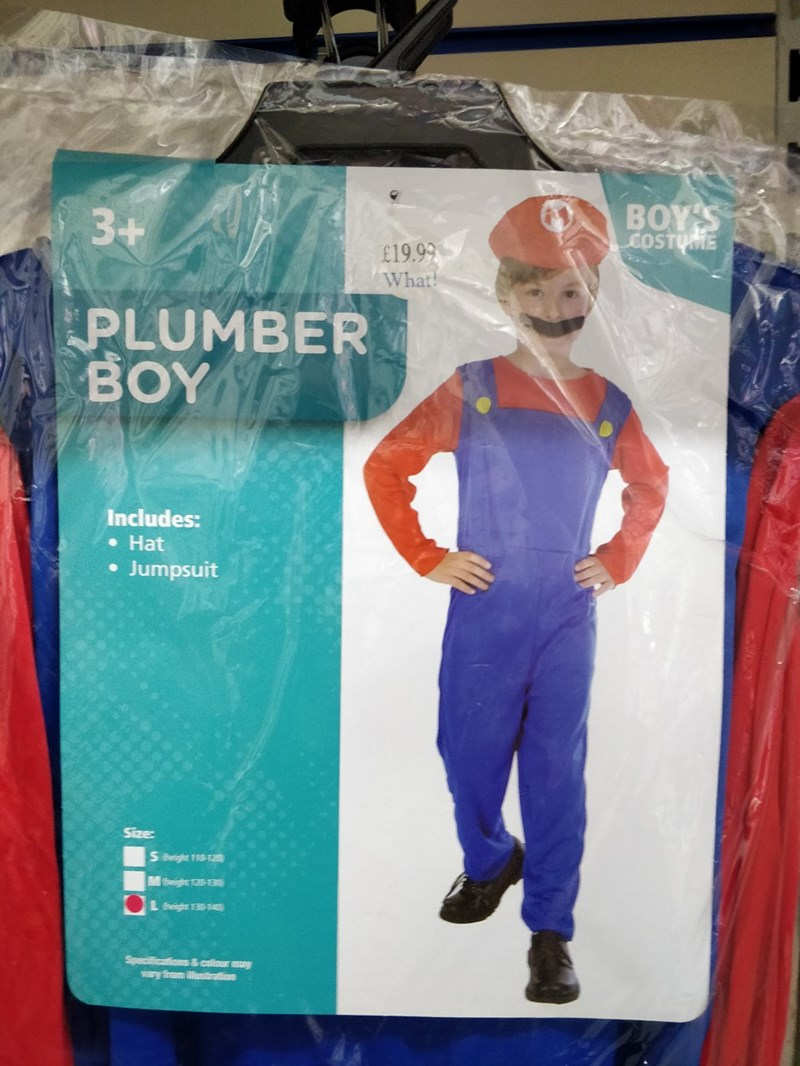 meme - Blue - BOY'S COSTUME 3+ £19.99 What PLUMBER BOY Includes: Hat Jumpsuit Size S teight 110-12 theighte 12- Leight 4 Specificaions&callour may ry fom alusation