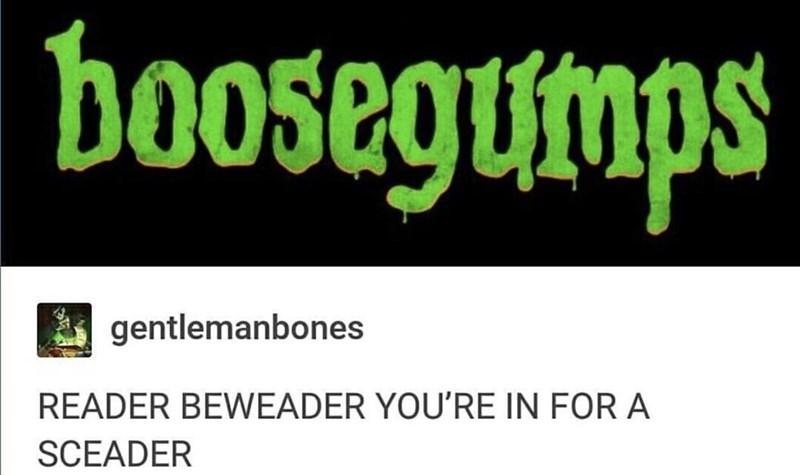 meme - Font - boosegumps gentlemanbones READER BEWEADER YOU'RE IN FOR A SCEADER