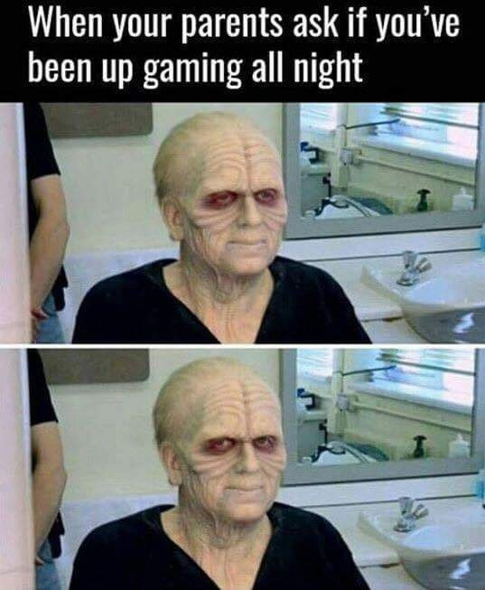 Thursday meme of Star Wars character putting his makeup on and caption about gaming all night