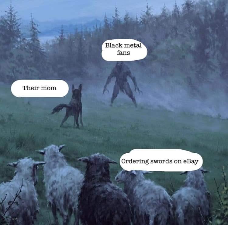 Fiction - Black metal fans Their mom Ordering swords on eBay