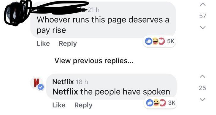 Text - 21 h 57 Whoever runs this page deserves a pay rise O5K Like Reply View previous replies... Netflix 18 h 25 Netflix the people have spoken O 3K Like Reply