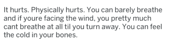 Text - It hurts. Physically hurts. You can barely breathe and if youre facing the wind, you pretty much cant breathe at all til you turn away. You can feel the cold in your bones.