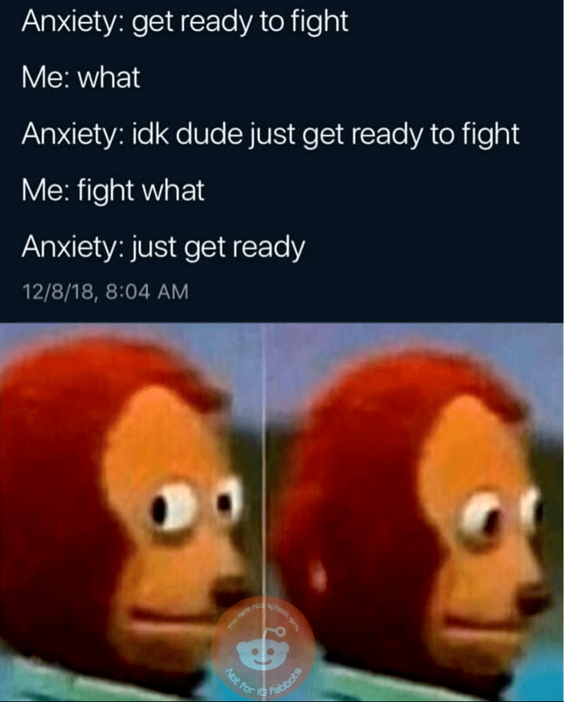 meme - Organism - Anxiety: get ready to fight Me: what Anxiety: idk dude just get ready to fight Me: fight what Anxiety: just get ready 12/8/18, 8:04 AM This men Fabbots Not For