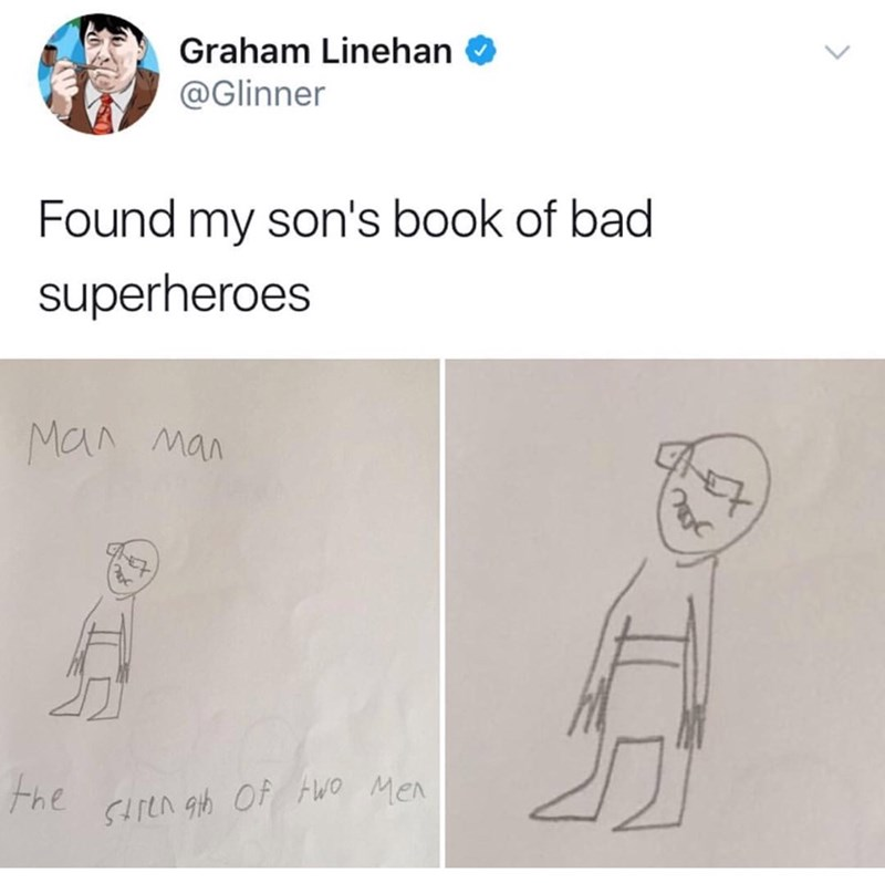 meme - Text - Graham Linehan @Glinner Found my son's book of bad superheroes Man man the cLn gh Of Wo Men