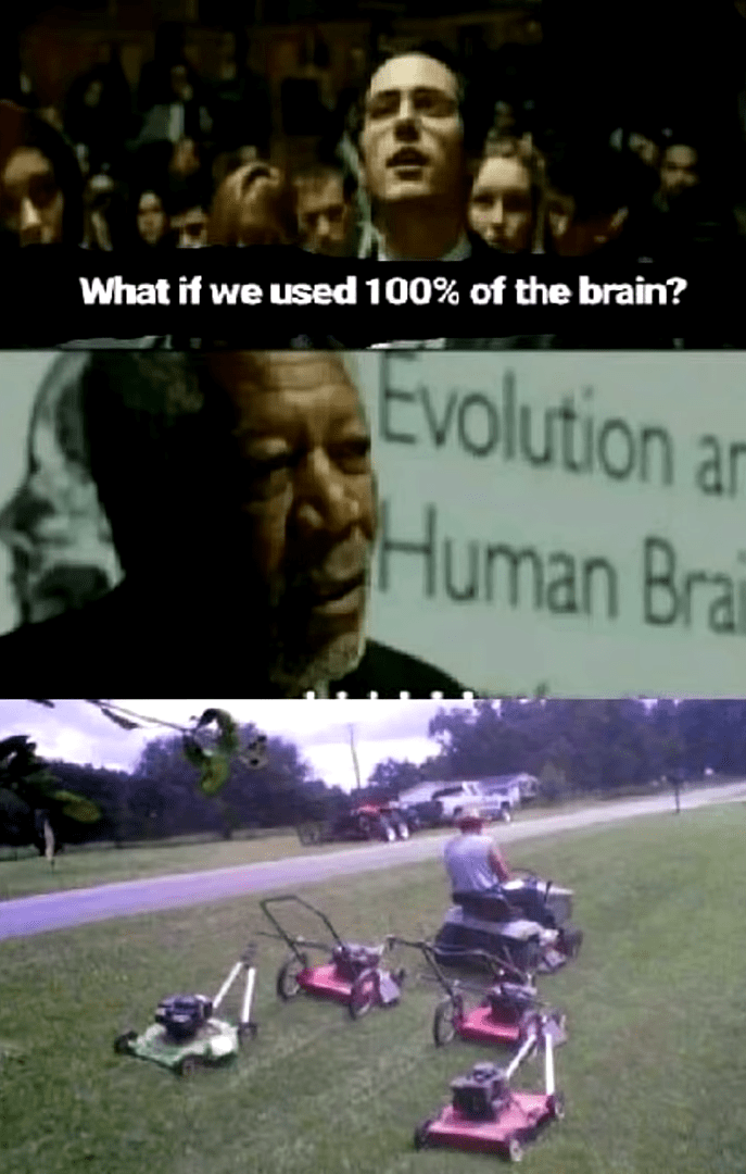 meme - Photo caption - What if we used 100% of the brain? Evolution Human Brai ar