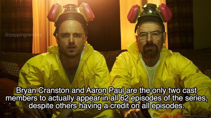 Photo caption - @poppingremins Bryan Cranston and Aaron Paul are the only two cast members to actually appear in all 62 episodes of the series, despite others having a credit on all episodes