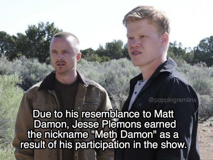 """Photo caption - @poppingremlins Due to his resemblance to Matt Damon, Jesse Plemons earned the nickname """"Meth Damon"""" as a result of his participation in the show."""
