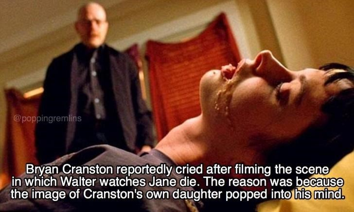 Facial expression - @poppingremlins Bryan Cranston reportedly cried after filming the scene in which Walter watches Jane die. The reason was because the image of Cranston's own daughter popped intohis mind.