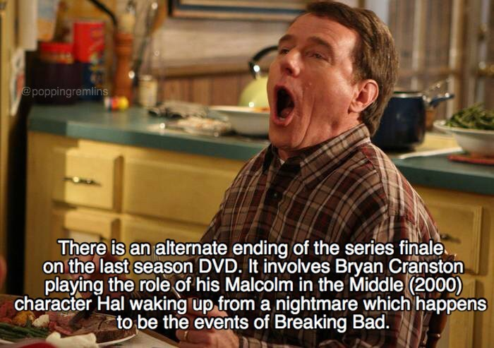 Photo caption - @poppingremlins There is an alternate ending of the series finale on the last season DVD. It involves Bryan Cranston playing the role of his Malcolm in the Middle (2000) character Hal waking up from a nightmare which happens to be the events of Breaking Bad.