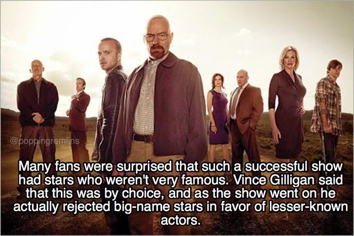 People - @poppingremlins Many fans were surprised that such a successful show had stars who weren't very famous. Vince Gilligan said that this was by choice, and as the show went on he actually rejected big-name stars in favor of lesser-known actors.