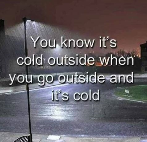polar vortex meme - Text - You know it's cold outside when you go outside and it's cold