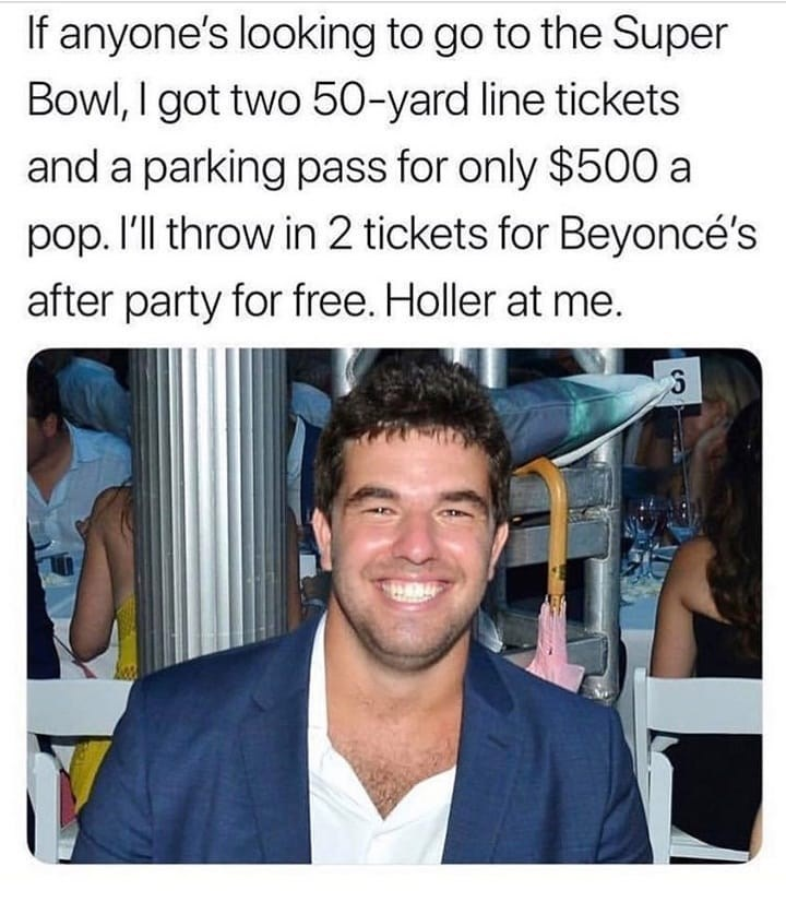 Funny meme about fyre fest, billy mcfarland, super bowl, beyonce.