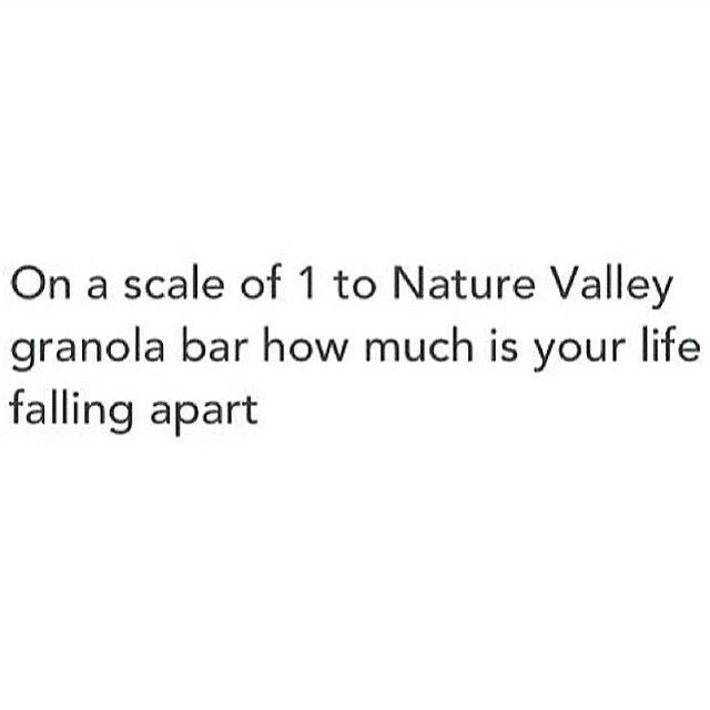"""Text that reads, """"On a scale of 1 to Nature Valley granola bar, how much is your life falling apart?"""""""
