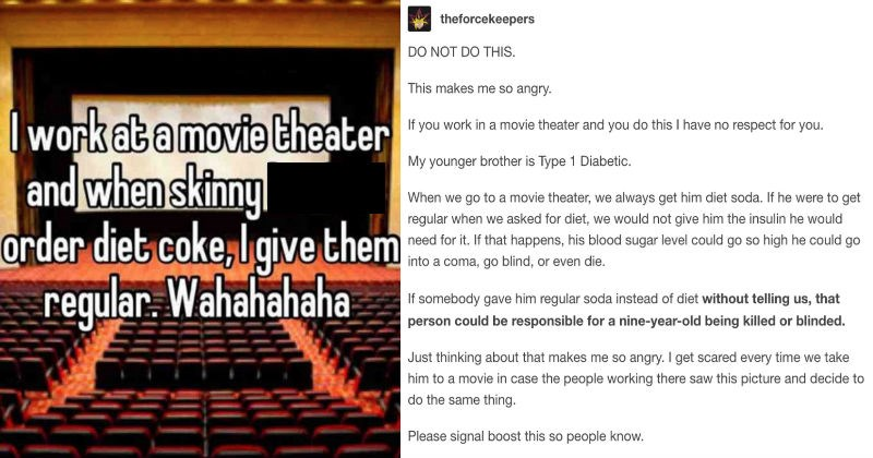 Movie theatre employee gets called out for insensitive customer service, and not respecting people's orders.
