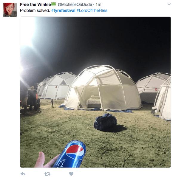 Fyre Festival Meme about having Pepsi to solve the problem