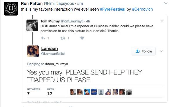 Fyre Festival Meme of a girl begging for help on twitter