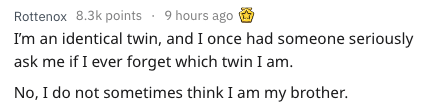 Text - Rottenox 8.3k points 9 hours ago Im an identical twin, and I once had someone seriously ask me if I ever forget which twin I am No, I do not sometimes think I am my brother